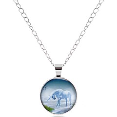 Men's Women's Pendant Necklaces Circle Glass Alloy Animals Classic Vintage Basic European Jewelry For Party Date