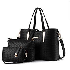 cheap Bags-Women's Bags PU(Polyurethane) Bag Set 3 Pcs Purse Set Zipper Black / Silver / Wine