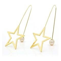 女性用 ドロップイヤリング キュービックジルコニア 人造真珠 甘い かわいい ファッション ジルコン 銅 ゴールドメッキ 星形 ジュエリー 用途 デート