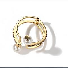 billige Fine smykker-Dame Imiteret Perle / Legering Manchet ring - 1 Cirkelformet Mode / Koreansk Guld Ring Til Anden / Daglig / Stævnemøde