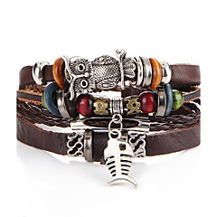 cheap -Men's Women's Leather Bracelet Strand Bracelet Vintage Rock Leather Beads Owl Jewelry For Wedding Party Halloween Birthday Gift Ceremony