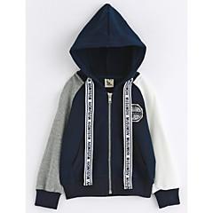tanie Odzież dla chłopców-Brzdąc Dla chłopców Kolorowy blok Długi rękaw Bawełna Kurtka / płaszcz Granatowy 120