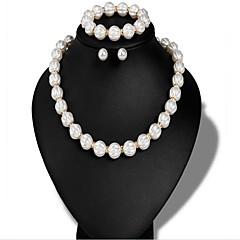Dame Smykke Sett Kubisk Zirkonium Imitert Perle Vintage Imitert Perle Legering Sirkelformet 1 Halskjede 1 Armbånd Øreringer Til Bryllup