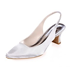 Womens Shoes Satin Spring Summer Basic Pump Wedding Block Heel Square Toe For Party Evening Purple Silver Blue Champagne