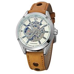 3943a26e83f Homens Relógio Esqueleto Relógio de Pulso Automático - da corda  automáticamente Couro Marrom Gravação Oca Analógico Clássico Vintage Casual  Fashion ...