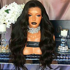 billiga Peruker och hårförlängning-Äkta hår 360 Fasad Peruk Brasilianskt hår Kroppsvågor Peruk 180% Naturlig hårlinje Dam Korta / Mellan / Lång Äkta peruker med hätta