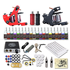 billige Salg-DRAGONHAWK Tattoo Machine Startkit - 2 pcs tattoo maskiner med 20 x 5 ml tatovering blekk, Profesjonell, Verneutstyr, Enkel å installere Mini strømforsyning No case 2 x legering tatovering maskin for