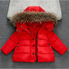 billige Jakker og frakker til piger-Pige dun- og bomuldsforet Ensfarvet Hvid Sort Rød
