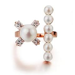 billige Fine smykker-Dame Mismatch Kvadratisk Zirconium / Imiteret Perle Imiteret Perle / Zirkonium / Plastik Manchet ring - Basale / Mismatch / Elegant Rose