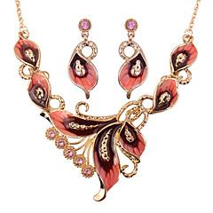baratos Conjuntos de Bijuteria-Mulheres Conjunto de jóias - Formato de Folha Fashion Incluir Verde / Azul / Rosa claro Para Festa / Brincos