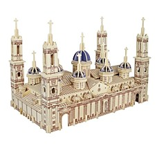 cheap -3D Puzzles Jigsaw Puzzle Model Building Kits Wood Model 3D Pilar Cathedral Kids Hot Sale Houses Fashion New Modern/Contemporary All Ages