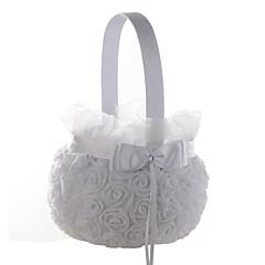 """olcso -gyönyörű esküvői virágkosár szatén csipke 9 """"(23 cm) 1 esküvő"""