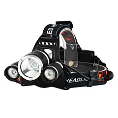 cheap Camping, Hiking & Backpacking-Headlamps Bike Light Headlight LED Cree® XM-L T6 3 Emitters 3000 lm 4 Mode with Batteries and Chargers Waterproof, Impact Resistant, Rechargeable Camping / Hiking / Caving, Everyday Use, Police