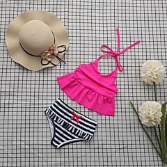 billige Badetøj til piger-Pige Ensfarvet Stribet Badetøj, Bomuld Rosa