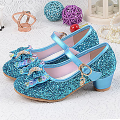 Girls' Shoes PU Spring & Summer Basic Pump Heels Crystal / Bowknot for Silver / Blue