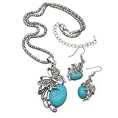 baratos Conjuntos de Bijuteria-Mulheres Turquesa Conjunto de jóias - Turquesa Borboleta Simples, Vintage Incluir Brincos Compridos / Colar Prata Para Diário