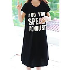billige Pigekjoler-Pigens Kjole Afslappet/Hverdag I-byen-tøj Ensfarvet Bogstaver, Bomuld Sommer Kortærmet Simple