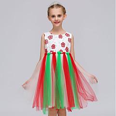 baratos Roupas de Meninas-Menina de Vestido Natal Feriado Estampa Colorida Verão Poliéster Sem Manga Simples Fofo Princesa Rosa Arco-íris