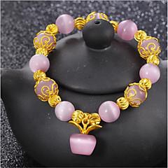 cheap Bracelets-Women's Onyx Gold Plated Strand Bracelet - Yellow Green Pink Bracelet For Wedding Daily