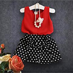 billige Tøjsæt til piger-Pige Tøjsæt Prikker, Bomuld Polyester Sommer Uden ærmer Simple Rød