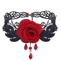 abordables Collares-Mujer Amatista sintética Gargantillas - Tela de Encaje Flor damas, Dulce, Moda Negro, Rojo Gargantillas Joyas 1 Para Diario