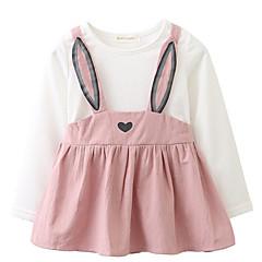 billige Babytøj-Baby Pige Simple / Aktiv Afslappet / Hverdag Ensfarvet Trykt mønster Langærmet Bomuld Kjole / Sødt