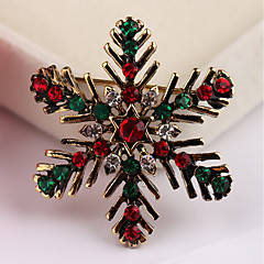 cheap Pins and Brooches-Men's Women's Brooches Fashion Alloy Snowflake Jewelry For Christmas Gift