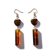 cheap Earrings-Women's Drop Earrings Vintage Fashion Korean Acrylic Alloy Heart Jewelry Brown Daily Costume Jewelry