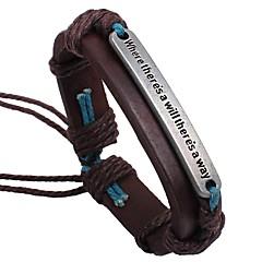 cheap Men's Jewelry-Men's Leather Bracelet - Simple Classic Hip-Hop Geometric Brown Bracelet For Date School
