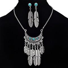 baratos Conjuntos de Bijuteria-Mulheres Turquesa Conjunto de jóias - Vintage, Boêmio, Boho Incluir Prata Para Festa / Formal / Brincos