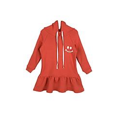 baratos Roupas de Meninas-Infantil Para Meninas Simples Casual Sólido Manga Longa Vestido