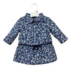 billige Babyoverdele-Baby Pige Afslappet Daglig Blomstret Langærmet Normal Bomuld Skjorte Blå