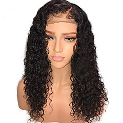 cheap Wigs & Hair Pieces-Human Hair Glueless Lace Front Lace Front Wig Mongolian Hair Curly Jerry Curl Wig Middle Part 130% Density 10-24 inch with Baby Hair Natural Hairline Unprocessed Pre-Plucked Women's Medium Length
