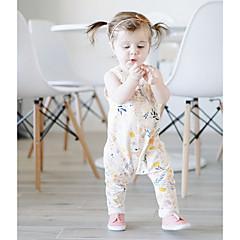 billige Babytøj-Baby Pige Normal Afslappet / Hverdag Blomstret Uden ærmer Bomuld Overall og jumpsuit
