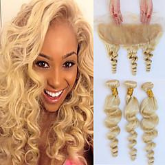 お買い得  カラー・ヘアエクステンション-ブラジリアンヘア ルーズウェーブ 人間の髪織り 4本 閉鎖が付いている毛横糸