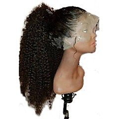 cheap Wigs & Hair Pieces-Human Hair Unprocessed Human Hair Glueless Full Lace Full Lace Wig Mongolian Hair Curly Kinky Curly Wig Middle Part 130% Density 10-24 inch with Baby Hair Natural Hairline 100% Virgin Unprocessed