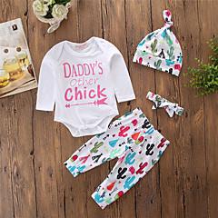 billige Sett med babyklær-Baby Pige Simple / Afslappet I-byen-tøj Geometrisk Langærmet Bomuld Tøjsæt