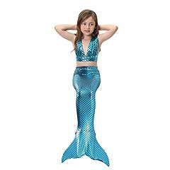 ieftine Costum Baie Fete-Copii Fete Activ / Cute Stil Sport / Plajă Mermaid Coada Mată Amestec de culori Fără manșon Bumbac / Poliester Costum Baie Curcubeu