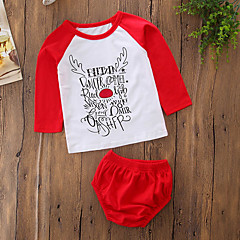 billige Babytøj-Baby Pige Simple / Afslappet / Aktiv Geometrisk / Simpel / Bogstaver Langærmet Bomuld Tøjsæt