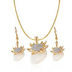 baratos Conjuntos de Bijuteria-Mulheres Opala Conjunto de jóias - Opala, Imitações de Diamante Fruta Clássico, Fashion Incluir Brincos Compridos / Colar Dourado Para Diário