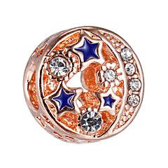 billige Perler og smykkemaking-DIY Smykker 10 stk Perler Strass Legering Rose Gull Rund Perlene 0.45 cm DIY Halskjeder Armbånd