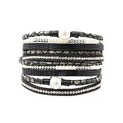 abordables -Femme Bracelets , Rétro Elégant Mode Perle Cuir , Bijoux Quotidien Sortie Bijoux de fantaisie Noir Gris Marron Vert