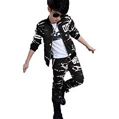 tanie Odzież dla chłopców-Dla chłopców Na co dzień / Moda miejska / Punk & Gotyckie Sport Prążki / kamuflaż Nadruk Długi rękaw Bawełna Komplet odzieży