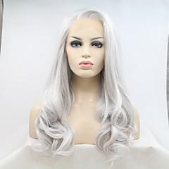 tanie Peruki syntetyczne-Syntetyczne koronkowe peruki Naturalne fale Fryzura cieniowana Naturalna linia włosów Biały Damskie Koronkowy przód Karnawałowa Wig