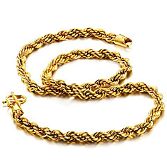 cheap Men's Necklaces-Men's Chain Necklace - Gold Plated Rock, Fashion, Hip-Hop Gold Necklace Jewelry For Daily, Street