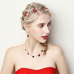 baratos Conjuntos de Bijuteria-Mulheres Conjunto de jóias - Flor Incluir Vermelho Para Casamento / Festa