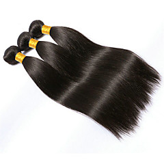 cheap Hair Extensions-3 Bundles Brazilian Hair Straight 10A Virgin Human Hair Natural Color Hair Weaves / Hair Bulk Black Human Hair Weaves Human Hair Extensions Women's