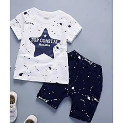 voordelige Jongenskleding-Peuter Jongens Informeel Dagelijks Effen / Polka dot Lange mouw Normaal Katoen / Bamboe Vezel Kledingset Marineblauw
