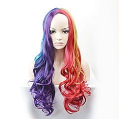 cheap Wigs & Hair Pieces-Synthetic Wig Women's Natural Wave Red Synthetic Hair Red Wig Long Capless Rainbow