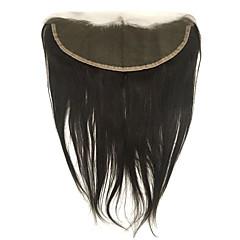 billiga Peruker och hårförlängning-4x13 Stängning Rak / Klassisk Fria delen Äkta hår Dagligen